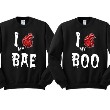 Couples Halloween Matching Crewneck Sweatshirts - I Love My BAE - I Love My BOO - Price is for 2 - Awesome Gift