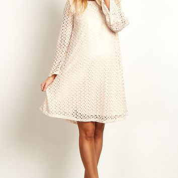 Beige-Open-Lace-Overlay-Bell-Sleeve-Dress