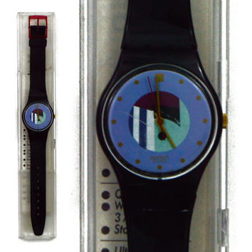 Vintage 90s Swatch Swiss Watch Black Inlay GB145 Wristwatch Pop Art