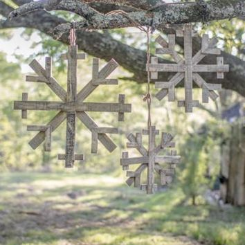 Set Of 3 Recycled Wood Snowflakes