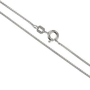 925 Sterling Silver .75mm Box Chain Necklace - Made in Italy (rhodium-plated-silver, 18 Inches)
