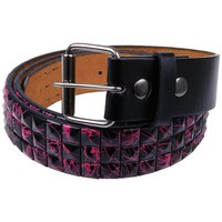 Pink Splatter Studded Leather Belt