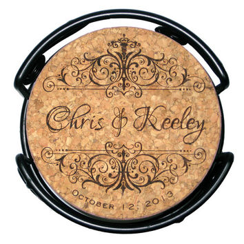 Wedding Cork Coaster Set, Personalized Vintage Style