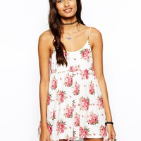 ASOS Tie Shoulder Cami Playsuit In Floral Print - Pink/cream