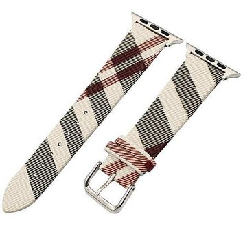 Burberry Inspired Apple Watch iWatch Replacement Real Leather Strap