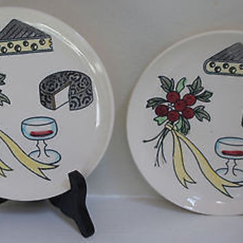Retro Wine & Cheese Serving Set with Holly & Berry Fine China Design