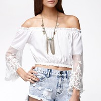 Reverse Woodstock Cropped Off-The-Shoulder Top - Womens Shirts - White