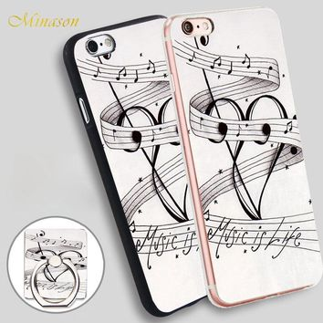Minason MUSIC NOTES MUSIC IS LIFE Mobile Phone Shell Soft TPU Silicone Case Cover for iPhone X 8 5 SE 5S 6 6S 7 Plus