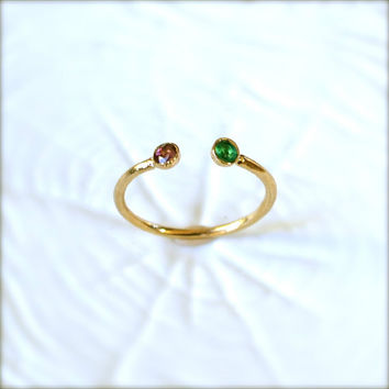 Gold Birthstone Gemstone Ring by illuminancejewelry on Etsy