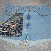 free ship Dale Earnhardt Sr. Nascar Custom LEVIS 555 racing car rare Fabric studded 32 inch waist denim SHORTS