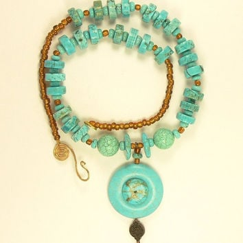 Turquoise Stone Necklace, Turquoise Statement Necklace, Southwestern Necklace