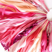 Flamingo Party Tassel Garland - Coral Pink Tissue Paper Tassel - Flamingo Party Decoration // Tropical Birthday Party // Luau Party Supplies