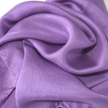 "Italian Silk Pocket Square,Purple Pocket Scarf,17"" Square,Small Silk Scarf,Solid Color Lavender Silk,Mens Wear,Groom or Formal Wear"