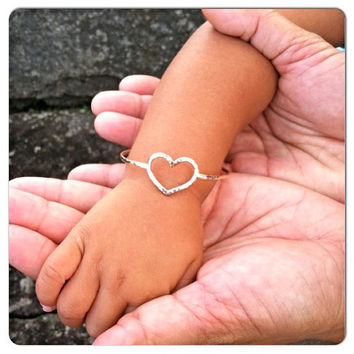 Baby Bangle, Gold Heart Bangle, Hawaii Jewelry, Valentines Day, Baby Shower, Baby Luau Gift