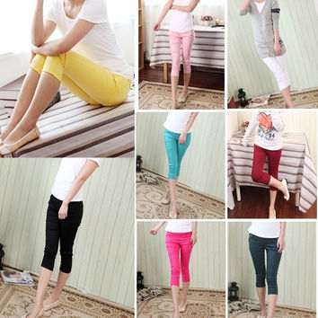 New 2 colors Korean fashion summer candy color casual pants cropped trousers maternity = 1946948868