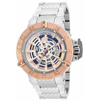 Invicta 16045 Men's Subaqua Noma III Spider Rose Gold Bezel Skeleton Dial Steel Bracelet Watch