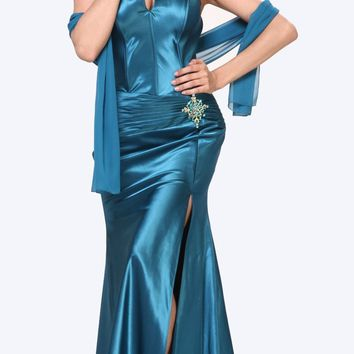 Teal Collar Halter Dress Satin Formal Open Slit Sexy Full Length Gown