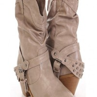 Beige Faux Leather Slouchy Studded Strapped Boots @ Amiclubwear Boots Catalog:women's winter boots,leather thigh high boots,black platform knee high boots,over the knee boots,Go Go boots,cowgirl boots,gladiator boots,womens dress boots,skirt boots,pink bo
