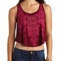 Rhinestone Aztec Graphic Cropped Tank Top - Burgundy