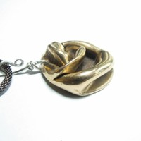 Bronze Clay Abstract Freeform Necklace Pendant Handmade Unique Design  | Metal_Artistry - Jewelry on ArtFire