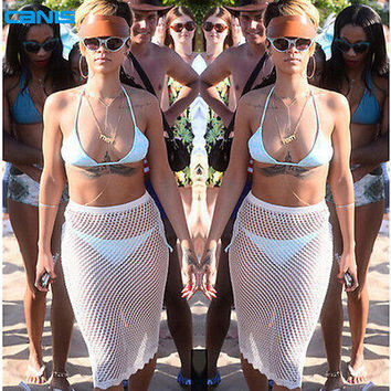 ot Sale 2016 Beach Cover Up Swimwear Mesh Hollow Out Sexy Bathing Suit Cover Up Womens White Bikini Cover Up Skirt Beachwear