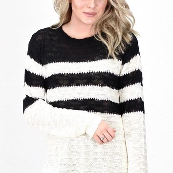 Ultimate Striped Knit Sweater {Black/Cream}