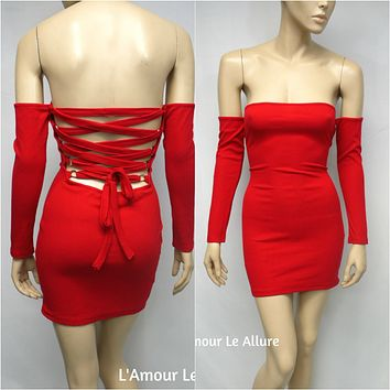 Red Knitted Long Sleeve Open Back Lace Up Christmas Mini Bandage Club Party Dress