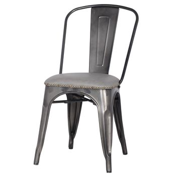 Metropolis PU Leather Metal Side Chair, Vintage Mist Gray (Set of 4)