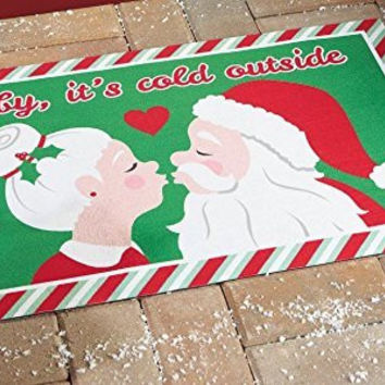 Red White Green Baby Its Cold Outside Kissing Mr. and Mrs. Claus Door Mat