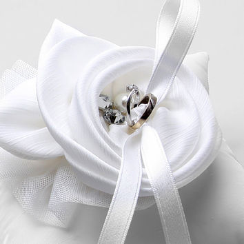 Ring Pillow - White Silk Flower Wedding Ring Pillow with crystals and pearls - Shannon