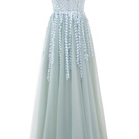 Sunvary Luxury Beading Evening Gown V-Neck Sleeveless Tulle Illusion Floor-Length Sequined A-Line Party Dress