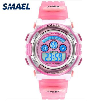 SMAEL Pink Girl Sport Watches Birthday Gift Children LED Digital Watches Sports Writswatches Alarm Clock  Kids relojes SL0704b