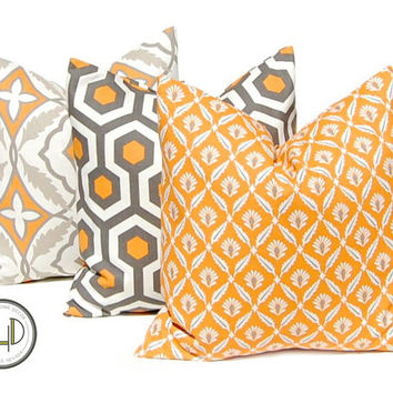 Thanksgiving Decor Decorative Pillow, Throw Pillow, Pillows, Toss Pillow Three All Sizes Pumpkin Orange Gray Cushion Covers Orange Pillow