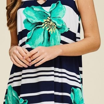 Strappy Hibiscus Tank Dress