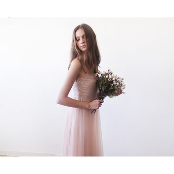 Pink sequin strapless tulle gown by Blushfashion
