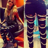 High Waist PU Patchwork Ripped Metal Chain Slim Pants