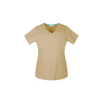 ScrubStar Women's Stretch Mock Wrap Scrub Top, Small, Khaki, 77945
