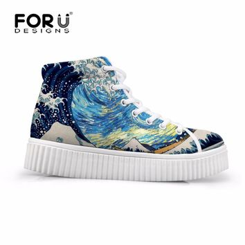 FORUDESIGNS Women High Top Platform Shoes 3D Waves Pattern Female Height Increasing Flats Casual Women's Sneaker Zapatos Mujer