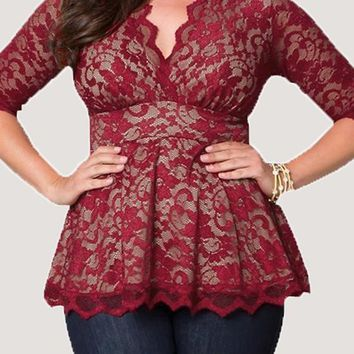 Red Flowers Print Lace Draped V-neck Elbow Sleeve Peplum Plus Size Blouse