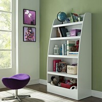 Modern 4 Shelf Storage Bookcase Shelving Unit in White
