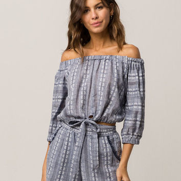 COCO & JAIMESON Tie Front Womens Off The Shoulder Top