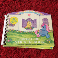 FREE Ship! Vintage My Little Pony Adventure Sticker Book w/Puffy Stickers 1980s