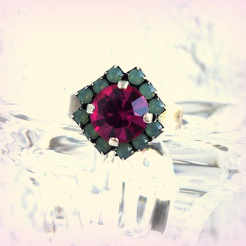 Swarovski crystal adjustable ring in fuchsia and opals, better than sabika, GREAT PRICE