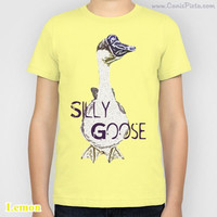 Silly Goose KIDS T-shirt Boy Girl Tee Shirt Children African Geese Farm Life Cute Feathery Friend Funny Humor Pastel Pink Yellow Lemon Green