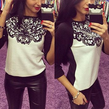 Autumn Winter Women Long Sleeve T Shirts Europe Loose Sweatshirts Hoodies High Quality Lace Joint Blocking Color