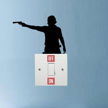 WANGZHIMING   Zombie The Walking Dead Rick Grimes Vinyl Switch Sticker Room Home Wall Decal 7SS0468