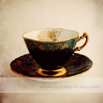Royal Tea Cup Photography - 8x10 Print - Gold and Blue - Dining Room Art