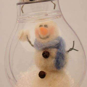 Snowman Snowglobe , Needle felted Snowman Light bulb Snow Globe #321