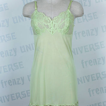 Vanity Fair Neon Yellow-Green Short Slip - Vintage Slip