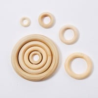 NEW DIY 20-300PCS Wooden Beads Circles Rings Beads Unfinished Natural Wood Beads Eco-Friendly Connectors 2-7CM cuentas de madera